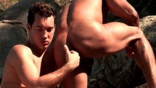 Sweet brunette gays Alber Charles And Anthony Gimenez licking their bronzed bodies and stroking cocks in the woods