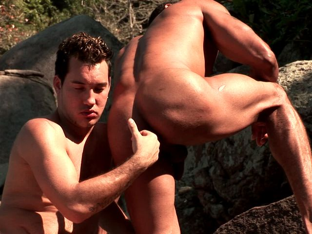 Sweet brunette gays Alber Charles And Anthony Gimenez licking their bronzed bodies and stroking cocks in the woods Free Gay Porn Access XXX Porn Tube Video Image