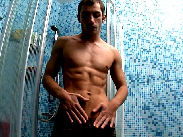Sweet European twink Tommy jerking off his monster penis in the shower
