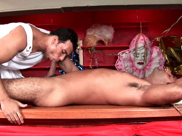 Sweet masked gays Alexandre Senna And Henrique Silva having oral fun on the table