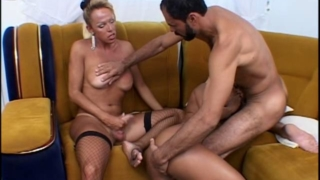 Sweet Shemale Whores Pamella And Hermaphrodite Wanking Cocks And Sharing A Lucky Unshaved Stud