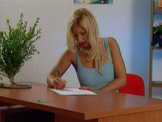 Sweety blonde office babe teasing her boss with her big decolletage