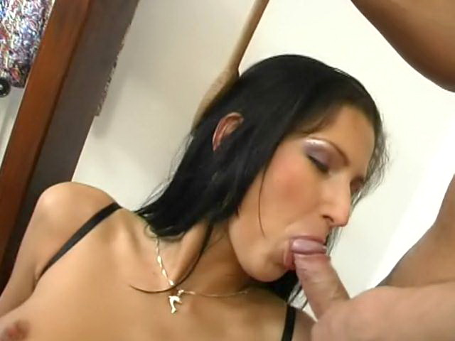 Sweety brunette slave in black corset Caslavova gets tits punished with pegs and double fucked
