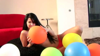 Sweety brunette teen Josie playing naked with balloons