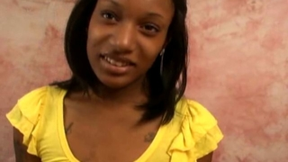 Sweety young black girlfriend Juccy stripping yellow top and showing her tiny breasts