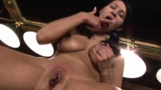Tanned Brunette Chick With Nice Jugs Fingering Her Fuckable Snatch