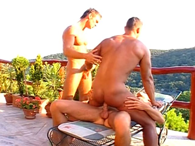 Tanned brunette gay getting anally fucked doggie outdoors