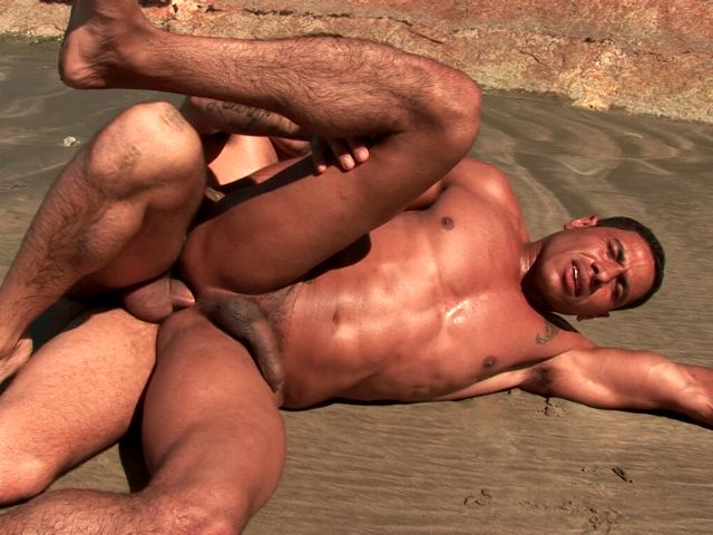 Tanned gays Alber Charles And Anthony Gimenez fingering and fucking their sexy asses on an island