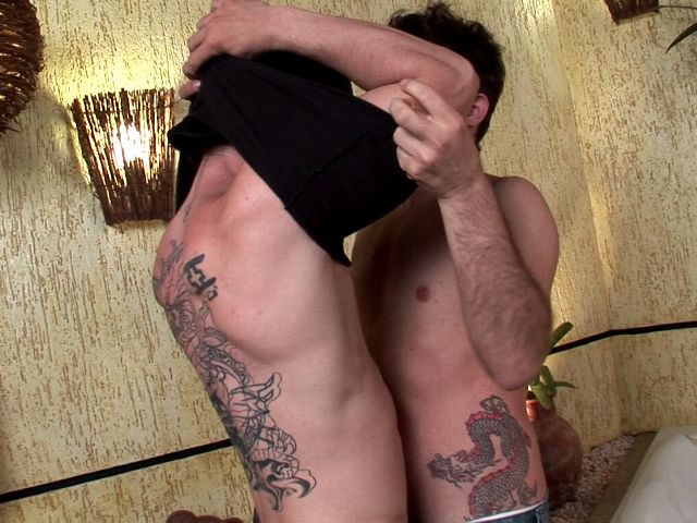 Tattooed brunette twinks Arcanjo And Villa Reis undressing their sexy clothes