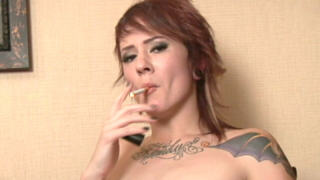 Tattooed Red Haired Teen Sailor Smoking With Lust On The Camera