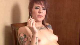 Tattooed Teenage Slut Sailor Smoking And Showing Her Small Jugs On The Chair