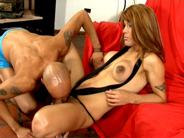 Tattooed tranny girl in high heels Morena getting cock sucked by a horny bald stud