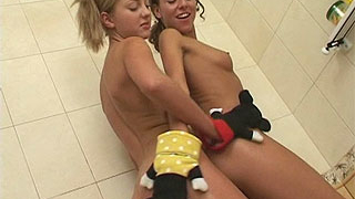 Teen lesbians playing in tub