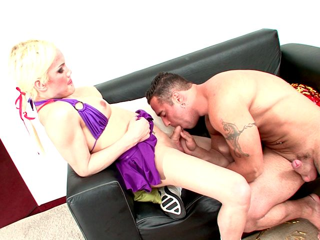 Tempting blonde shemale cheerleader Mia Rivers dancing erotically for you