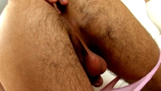 Tempting brunette european twink Duke strips pink briefs and fingers butthole doggie