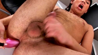Tempting brunette european twink Paul fucking his sexy butthole with a large pink dildo on the camera