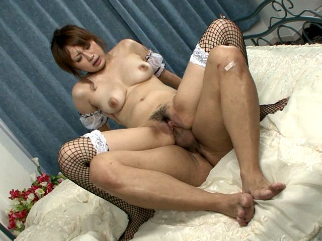 Tempting Japanese maid in fishnets Madoka Ayukawa jumping a thick phallus hard