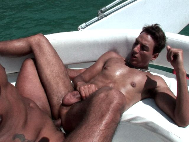 Tempting tanned twinks Alan and Matheus having anal sex on a boat