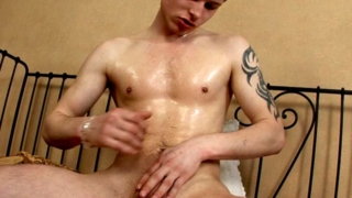 Tender Blonde Gay Derec Oiling And Massaging His Fuckable Round Ass On The Camera