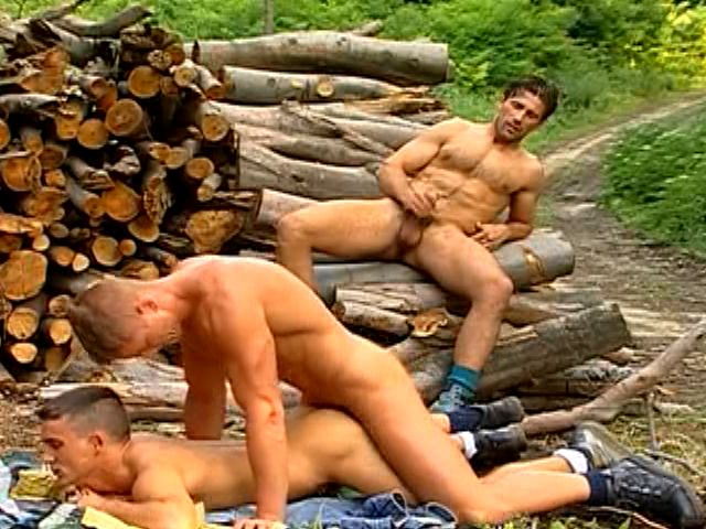 Three excited gays fucking their tight assholes and jerking off their thick pricks outdoors
