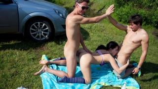 Three guys bang a very sexy student girl