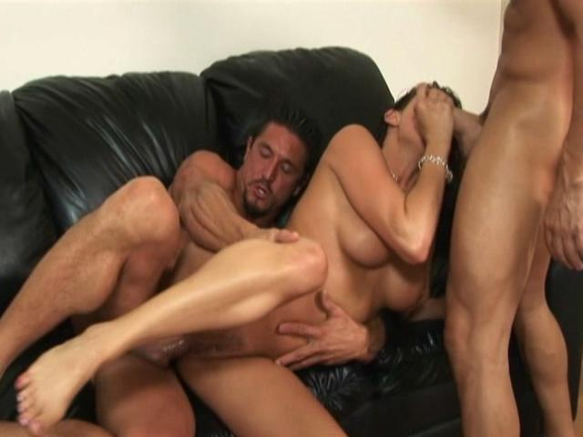 Tory Lane satisfies two horny guys at the same time