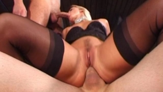Trashy Blonde Babe In Stockings Slurps And Jumps Anally Two Massive Cocks
