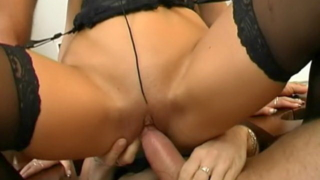 Trashy brunette slave in stockings Caslavova gets double pounded