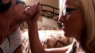 Trashy exgirlfriend  babe Tricia gives handjob and gets glasses cummed