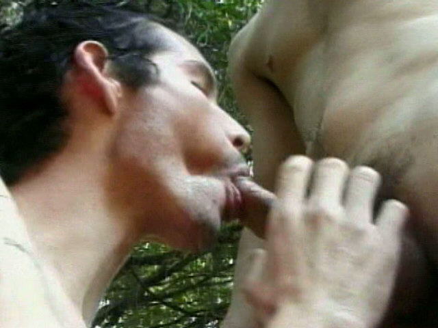Trashy exotic twink Antonio giving blowjob to Ramos in the forest