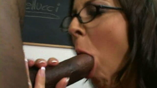 Trashy Teacher In Glasses Maria Bellucci Gets Banged Doggy By Black Student In Classroom