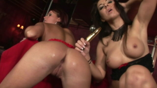 Two Adorable Brunette Lesbians Dildoing Their Succulent Snatches