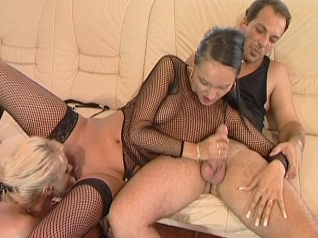 Two lustful lesbians licking their shaved pussies and sharing a giant prick