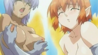 Two naughty hentai shemales touching their amazing breasts