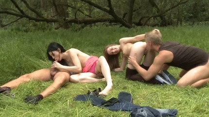 Two sexy young girls and two horny young men go to the woods, what do you think is going to happen?