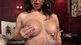 Ultra Sexy Brunette Pornstar Spreading Ice On Her Divine Breasts