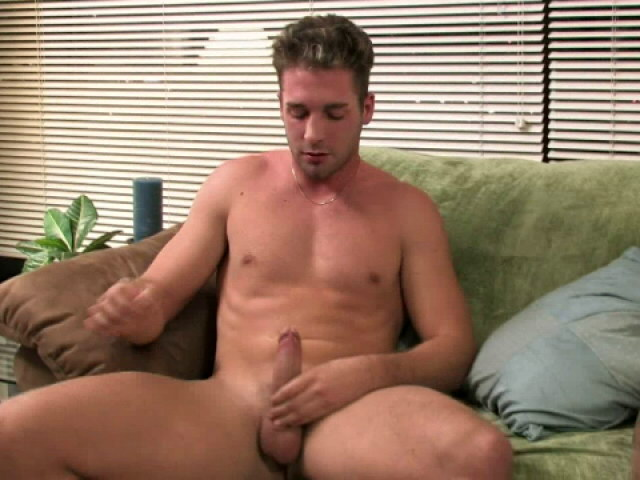Ultra sexy gay Johnny jerking his big shaft on the couch