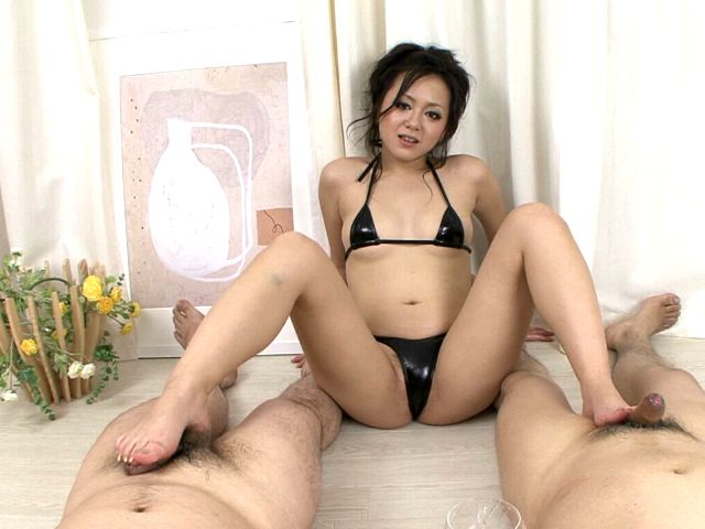 Ultra sexy Japan doll in tiny lingerie Rui Natsukawa gives footjob to two dudes