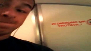 Video Banned From Social Networks Of Amateur Boyfriend Jerking Off In The Airplane Bathroom