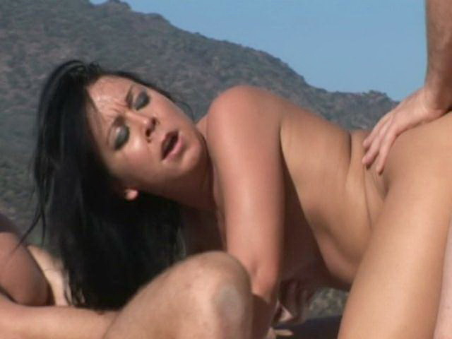 Vivacious brunette amateur babe Julie Knight gets fucked by two studs outdoors