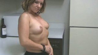 Voluptuous blondie wife Tessa touching her sexy body with lust in the kitchen