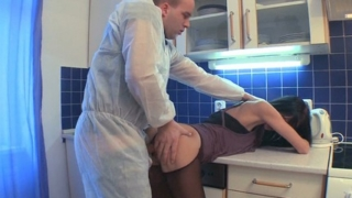 Watching Dinara Bend Over The Counter For Her Man To Feel Her Up And Stick His Fingers In Her Pussy, Is Very Horny Indeed.