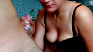 Winsome amateur young wife Dasha riding her horny husband Max's cock on the chair