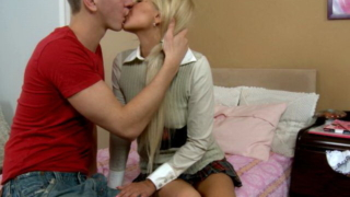 Winsome blonde European teen cutie Amie teasing a young stud with her hot body