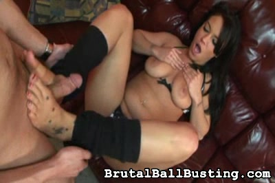 You will get to see her tits. Brutal Ball Busting XXX Porn Tube Video Image